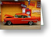 Orange Greeting Cards - Hot Rod BBQ Greeting Card by Perry Webster