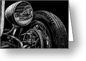 Hot Rod Drawings Greeting Cards - Hot Rod Bob Greeting Card by Bomonster