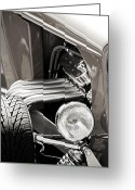 Mac Miller Greeting Cards - Hot Rod Front End Monochrome Greeting Card by M K  Miller