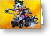 Bat Mixed Media Greeting Cards - Hot Rod Joker Greeting Card by Chris Mason