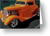 Chrome Grill Greeting Cards - Hot Rod Orange Greeting Card by DigiArt Diaries by Vicky Browning