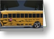 Hot Rod Greeting Cards - Hot Rod School Bus Greeting Card by Mike McGlothlen