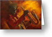 Sax Greeting Cards - Hot Sax Greeting Card by Kathleen Tucker