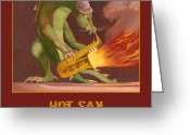 Dragons Greeting Cards - Hot Sax Greeting Card by Leonard Filgate