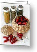 Chili Greeting Cards - Hot Spice Greeting Card by Carlos Caetano
