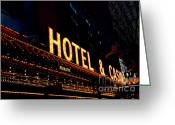 Fremont Street Greeting Cards - Hotel and Casino in Las Vegas Greeting Card by Susanne Van Hulst