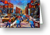 Hockey Street Scenes In Montreal Greeting Cards - Hotel De Ville Montreal Hockey Street Scene Greeting Card by Carole Spandau