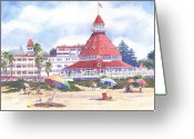 Beach Umbrella Painting Greeting Cards - Hotel Del Coronado Beach Greeting Card by Mary Helmreich