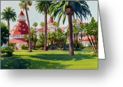 California Painting Greeting Cards - Hotel Del Coronado Greeting Card by Mary Helmreich