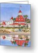 California Painting Greeting Cards - Hotel Del Coronado Reflected Greeting Card by Mary Helmreich