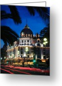 Trees Light Windows Greeting Cards - Hotel Negresco Greeting Card by Inge Johnsson