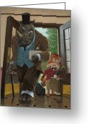 Cute Rhinoceros Greeting Cards - Hotel Rhino And Porter Fox Greeting Card by Martin Davey