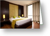 Indoors Home Greeting Cards - Hotel-room Greeting Card by Atiketta Sangasaeng