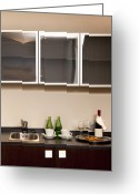 Cupboards Greeting Cards - Hotel Room Kitchenette Greeting Card by Jaak Nilson