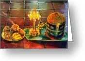 Reception Painting Greeting Cards - Hotel welcome in India Greeting Card by George Atsametakis