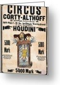 Houdini Greeting Cards - Houdini Poster Greeting Card by Granger