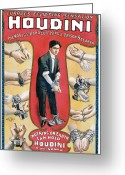 Magic Tricks Greeting Cards - Houdini The Worlds Handcuff King Greeting Card by Unknown