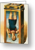 Houdini Greeting Cards - Houdini Water Filled Torture Cell Greeting Card by Unknown