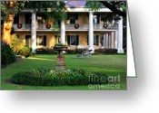 Live Art Greeting Cards - Houmas House Plantation Garden Greeting Card by Perry Webster