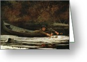 Antlers Greeting Cards - Hound and Hunter Greeting Card by Winslow Homer