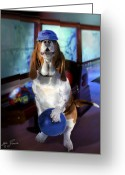 Animal Sport Greeting Cards - Hound dog bowling Greeting Card by Gina Femrite