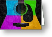 Guitar Mixed Media Greeting Cards - Hour Glass Guitar 4 Colors 3 Greeting Card by Andee Photography