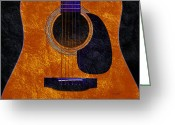 Photgraphy Greeting Cards - Hour Glass Guitar Orange 1 T Greeting Card by Andee Photography