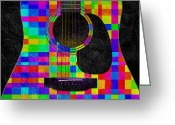 Guitar Mixed Media Greeting Cards - Hour Glass Guitar Random Rainbow Squares Greeting Card by Andee Photography