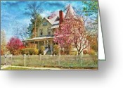 Fence Gate Greeting Cards - House - A Victorian Springtime Greeting Card by Mike Savad