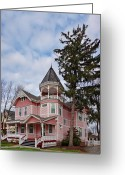 Porch Greeting Cards - House - Flemington NJ - The Pink Lady Greeting Card by Mike Savad