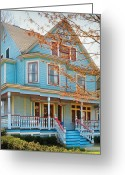 Blue House Greeting Cards - House - Painted Lady Greeting Card by Mike Savad