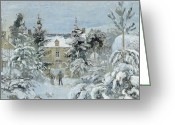 Pisarro Greeting Cards - House at Montfoucault Greeting Card by Camille Pissarro