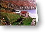 Grass Pastels Greeting Cards - House at the Coast Greeting Card by Stefan Kuhn