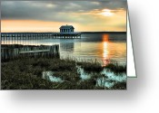 Sunset Framed Prints Photo Greeting Cards - House At The End Of The Pier II Greeting Card by Steven Ainsworth