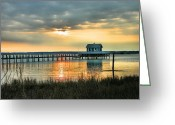 Sunset Framed Prints Photo Greeting Cards - House At the End of the Pier Greeting Card by Steven Ainsworth