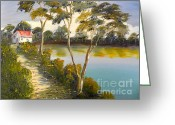 Pamela Meredith Greeting Cards - House by the Lake Greeting Card by Pamela  Meredith
