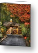 Autumn Scenes Photo Greeting Cards - House - Classy Garage Greeting Card by Mike Savad