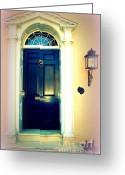 Blue House Greeting Cards - House Door 1 in Charleston SC  Greeting Card by Susanne Van Hulst