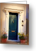 Blue House Greeting Cards - House Door 2 in Charleston SC  Greeting Card by Susanne Van Hulst