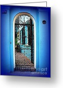 Blue House Greeting Cards - House Door 4 in Charleston SC  Greeting Card by Susanne Van Hulst
