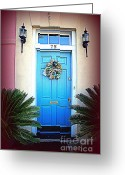 Blue House Greeting Cards - House Door 6 in Charleston SC  Greeting Card by Susanne Van Hulst