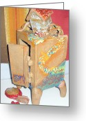 Brick Ceramics Greeting Cards - House Fell on My Wicked Witch Treasure Chest Greeting Card by Chere Force