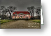 Scary Mansion Greeting Cards - House illuminated and with trees branches Greeting Card by Mats Silvan