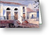 Wash Board Greeting Cards - House in Santiago Greeting Card by Winslow Homer