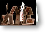 Playing Cards Greeting Cards - House of Cards Greeting Card by Jan Piller