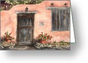 Santa Fe Greeting Cards - House On Delgado Street Greeting Card by Sam Sidders