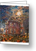 Haunted House Print Greeting Cards - House on Pumpkin Hill Greeting Card by William Vanya