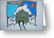 Chimney Pastels Greeting Cards - House On The Edge Of Town Greeting Card by Pat  Lackenbauer