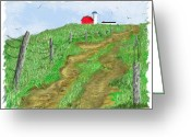 "\\\""barbed Wire Fence\\\\\\\"" Drawings Greeting Cards - House on the Hill-summer Greeting Card by Jim Hubbard"