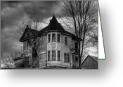 Haunted Home Greeting Cards - House On The Hill Greeting Card by Thomas Young